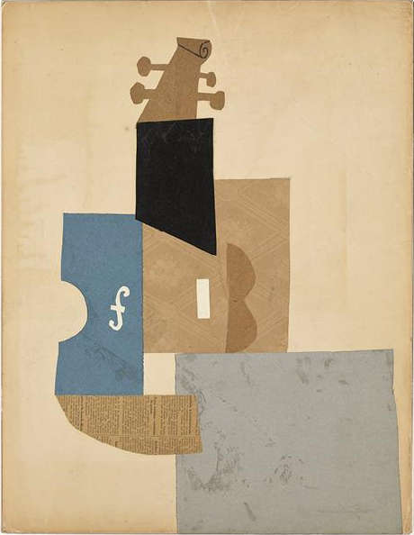 Pablo Picasso, Geige, Paris, Herbst 1912, Gelegtes Papier, Tapete, Zeitung, Velinpapier und glasiertes schwarzes Velinpapier, geschnitten und auf Karton geklebt, sowie Bleistift und Kohle, 65 x 50 cm (Musée national Picasso-Paris, Pablo Picasso gift in lieu, 1979, MP367. Photo © RMN-Grand Palais (Musée national Picasso-Paris) / Mathieu Rabeau. © Estate of Pablo Picasso / Artists Rights Society (ARS), New York)