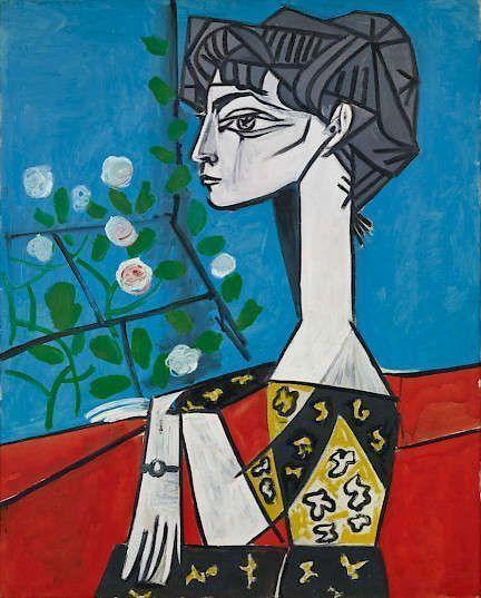 Pablo Picasso, Madame Z (Jacqueline mit Blumen), 2. Juni 1954, Öl/Lw, 100 x 81 cm (Sammlung Catherine Hutin, © Succession Picasso/VG Bild-Kunst, Bonn 2018)