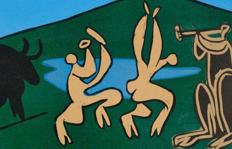 Pablo Picasso, Bacchanal mit Stier, 1959 (Kunsthalle Bremen – Der Kunstverein in Bremen, © Succession Picasso / VG Bild-Kunst, Bonn 2019)