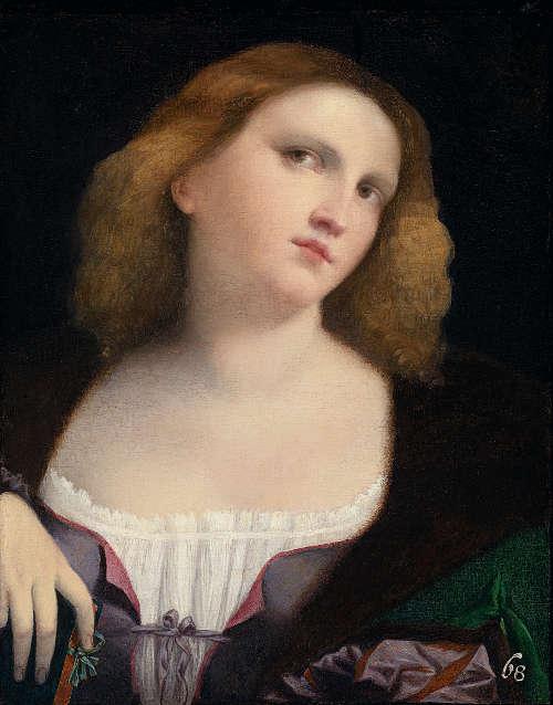 Palma il giovane (Jacopo Negretti), Porträt einer jungen Frau, 1513/14, Öl auf Leinwand, 47 x 37 cm (Musée des Beaux-Arts, Lyon)