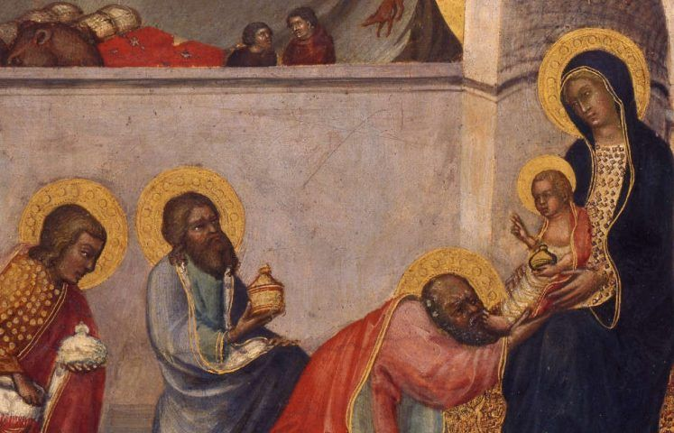 Paolo di Giovanni Fei, Anbetung der hl. Drei Könige, Detail, um 1395–1400 (Lindenau-Museum Altenburg, Foto Bernd Sinterhaus © Lindenau-Museum Altenburg)
