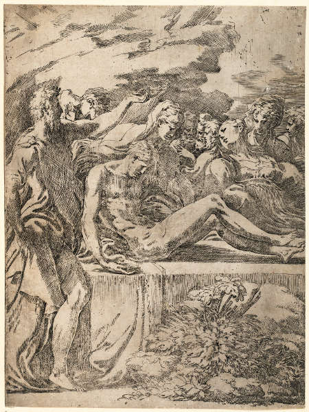 Parmigianino, Die Grablegung Christi, um 1524–1525, Radierung (Albertina, Wien)