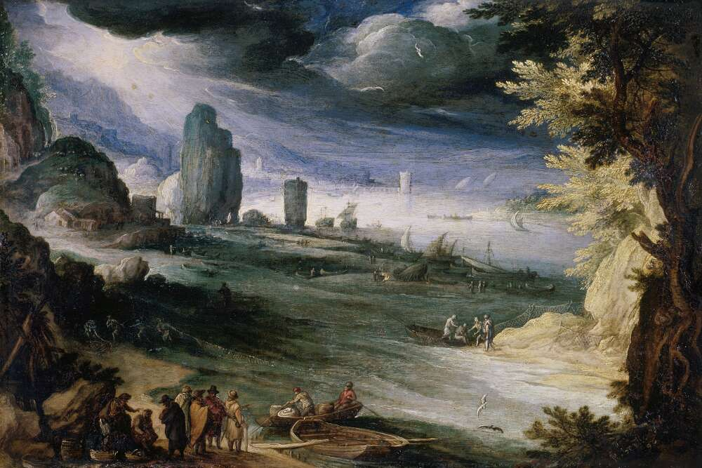 Paul Bril, Küstenlandschaft, 1596, Öl auf Kupfer (Wallraf-Richartz-Museum & Fondation Corboud)