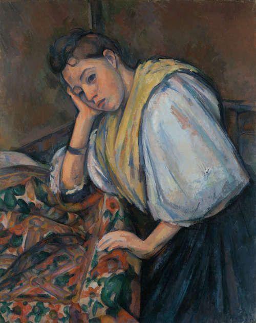 Paul Cézanne, Junge Italienerin an einem Tisch, um 1895–1900, Öl/Lw, 92.1 × 73.5 cm (The J. Paul Getty Museum, Los Angeles)