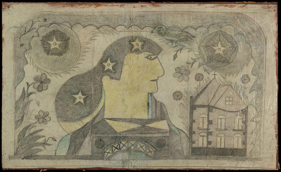 Eugène Engrand, genannt Paul End (1896–1973), Frau mit Sternenhaar, 1948, Grafitstift und Farbstift auf Ölfarbe mit eingestrichenem Packpapier (Foto: Claudine Garcia, AN, Collection de l'Art Brut, Lausanne)