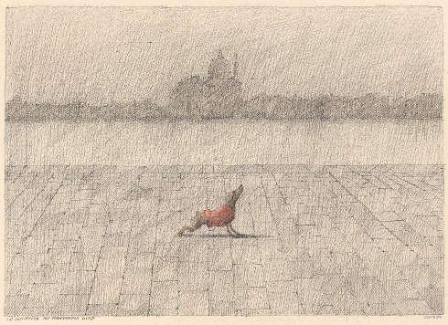 Paul Flora, La Giudecca mit vornehmem Hund, 1984, Federzeichnung, Farbstift (Sammlung Galerie Thomas Flora, Innsbruck © Nachlassvertretung für Paul Flora, Salzburg sowie Diogenes Verlag, Zürich)