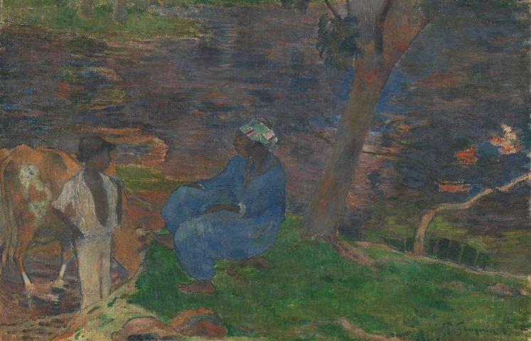 Paul Gauguin, Am Flussufer in Martinique, Detail, Martinique 1887, Öl/Lw, 54.5 cm x 65.5 cm (Van Gogh Museum, Amsterdam (Vincent van Gogh Foundation)