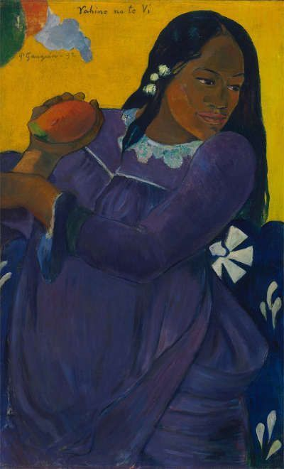 Paul Gauguin, Frau mit der Mango (Vahine no te vi), 1892, Öl/Lw, 73 × 45.1 cm (Baltimore Museum of Art. The Cone Collection, formed by Dr. Claribel Cone and Miss Etta Cone of Baltimore, Maryland (BMA 1950.213). Photo: Mitro Hood)