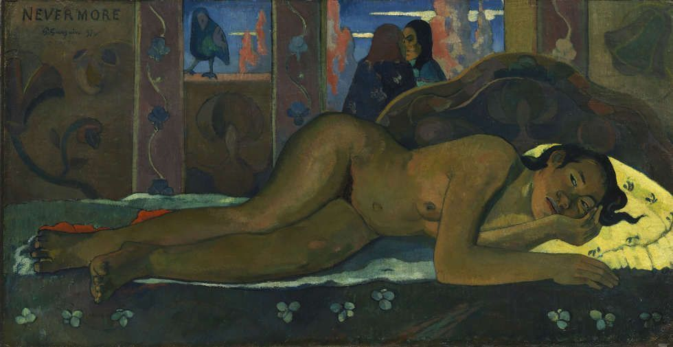 Paul Gauguin, Nevermore, 1897, Öl/Lw, 60.5 x 116 cm (The Courtauld Gallery (The Samuel Courtauld Trust), London)