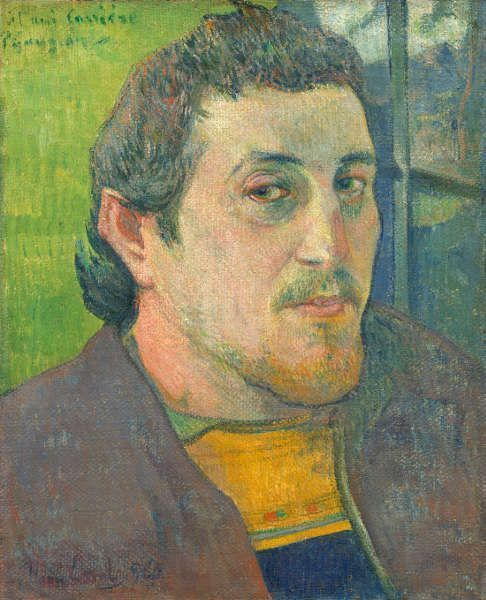 Paul Gauguin, Selbstporträt, Carrière gewidmet, 1888 oder 1889, Öl/Lw, 46.5 × 38.6 cm (National Gallery of Art, Washington, DC, Collection of Mr. and Mrs. Paul Mellon (1985.64.20), Image courtesy of the Board of Trustees, National Gallery of Art, Washington, DC.)