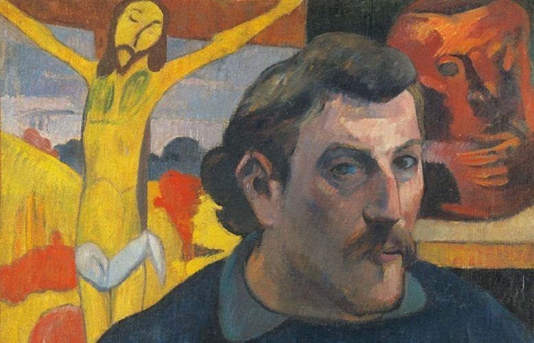 Paul Gauguin, Selbstporträt mit gelbem Christus, Detail, 1890/91, Öl/Lw, 38 × 46 cm (Musée d'Orsay, Paris, acquired by the Musée nationaux mit der Beteiligung von Philippe Meyer und japanischem Sponsoring coordinated by the newspaper Nikkei, (RF1994-2). Photo: René-Gabriel Ojeda. © RMN-Grand Palais / Art Resource, NY)
