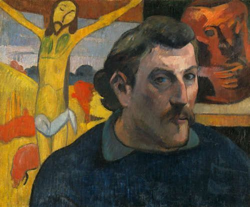 Paul Gauguin, Selbstporträt mit gelbem Christus, 1890/91, Öl/Lw, 38 × 46 cm (Musée d'Orsay, Paris, acquired by the Musée nationaux mit der Beteiligung von Philippe Meyer und japanischem Sponsoring coordinated by the newspaper Nikkei, (RF1994-2). Photo: René-Gabriel Ojeda. © RMN-Grand Palais / Art Resource, NY)