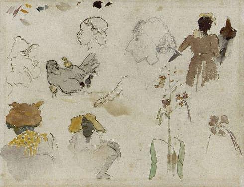 Paul Gauguin, Skizze verschiedenere Figuren, Blumen und Tier, 1887, Schwarze Kreide, Bleistift, Tusche, Aquarell auf Papier, 20.4 x 27 cm (Privatsammlung)