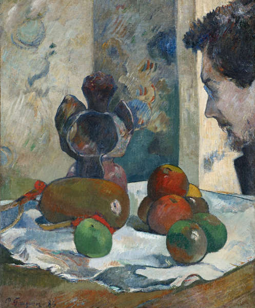 Paul Gauguin, Stillleben mit Profil von Laval, 1886, Öl/Lw, 46 × 38 cm (Indianapolis Museum of Art at Newfields. Gift of Mrs. Julian Bobbs in memory of William Ray Adams, 46.22, DiscoverNewfields.org (1998.167)