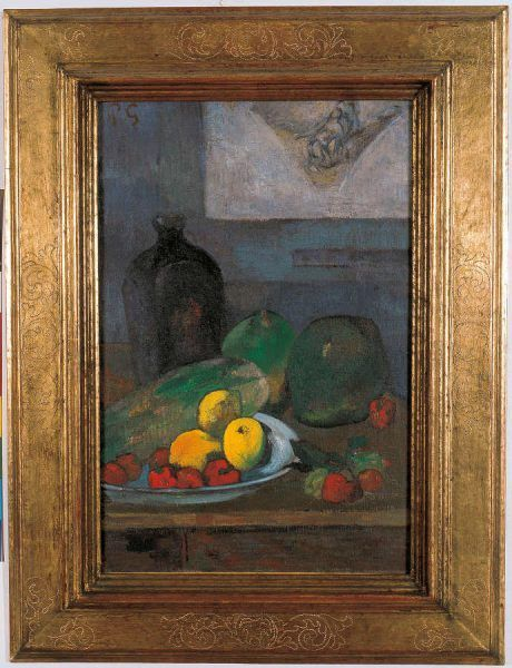 Paul Gauguin, Stillleben mit Skizze nach Delacroix / Still Life with a Sketch after Delacroix, 1887, Öl auf Leinwand / Oil on canvas, 40 x 30 cm, Musée d'Art moderne et contemporain de Strasbourg © Photo Musées de Strasbourg, M. Bertola.