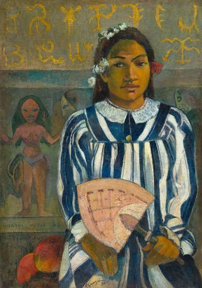 Paul Gauguin, Tehamana hat viele Eltern oder Die Ahnen von Tehamana (Merahi metua no Tehamana), 1893, Öl/Jute, 75 × 53 cm (Art Institute of Chicago. Gift of Mr. and Mrs. Charles Deering McCormick (1980.613). Photo: Art Institute of Chicago / Art Resource, NY)