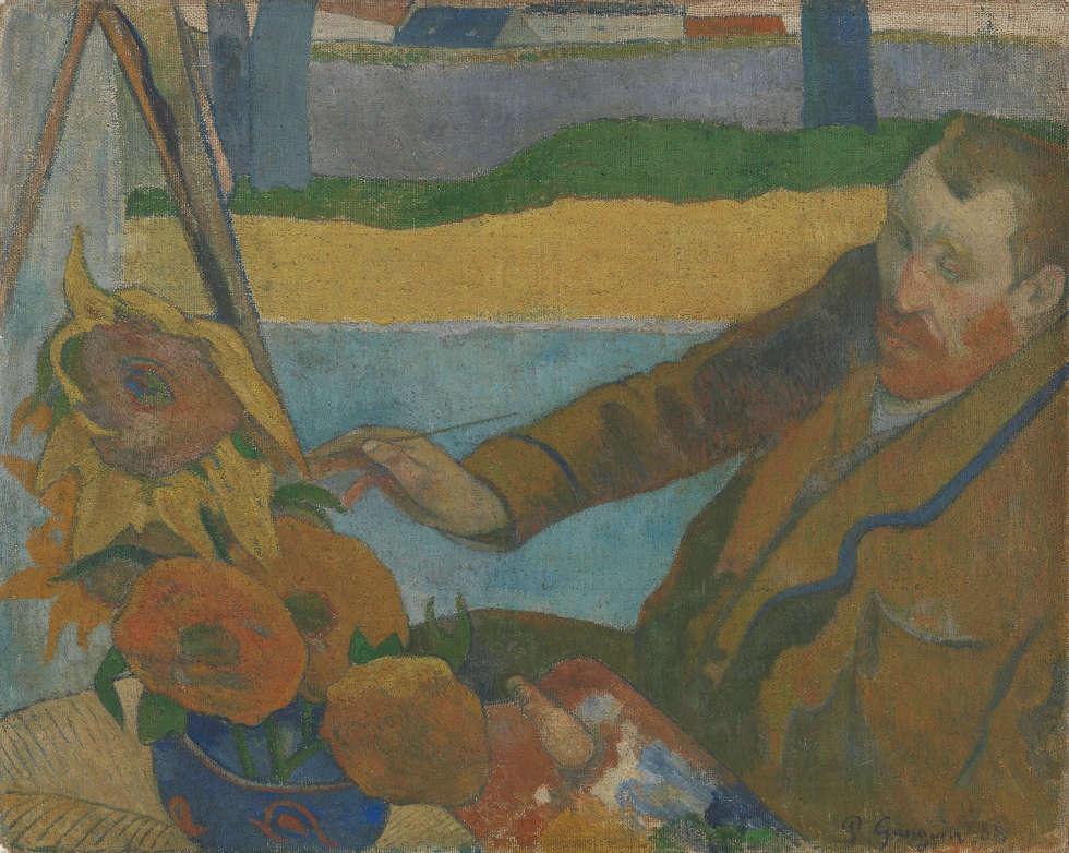 Paul Gauguin, Porträt van Gogh, Sonnenblumen malend [Vincent van Gogh malt Sonnenblumen], Arles, 1888, Öl/Lw, 73 cm x 91 cm (Van Gogh Museum, Amsterdam (Vincent van Gogh Foundation)
