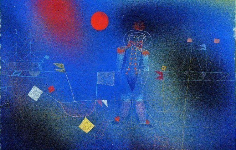 Paul Klee, Abenteurer zur See, Detail, 1927, 5, Gouache und Aquarell, teilweise mit Luftpinsel, auf blaugrundiertem Papier, mit Gouache und Feder eingefasst, auf Karton, 25,1 x 32,4 cm Karton: 28,5 x 35 cm (Albertina, Sammlung Batliner, DL313)