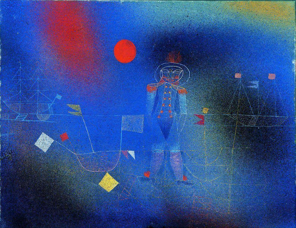Paul Klee, Abenteurer zur See, 1927, 5, Gouache und Aquarell, teilweise mit Luftpinsel, auf blaugrundiertem Papier, mit Gouache und Feder eingefasst, auf Karton, 25,1 x 32,4 cm Karton: 28,5 x 35 cm (Albertina, Sammlung Batliner, DL313)
