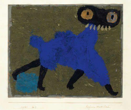 Paul Klee, Blau Mantel, 1940, 7, Öl und Wachsfarbe auf Papier auf Karton (Albertina, Vienna, promised gift of the Carl Djerassi Art Trust II)
