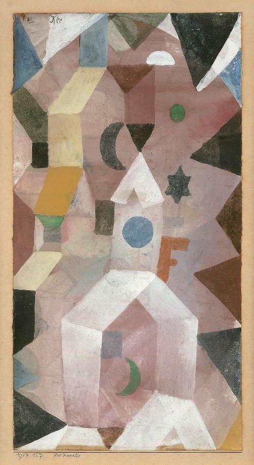 Paul Klee, Die Kapelle, 1917, 127, Aquarell und weiße Tempera auf Papier auf Karton, 29,2 x 14,6 cm (Fondation Beyeler, Riehen/Basel, Sammlung Beyeler, Foto: Peter Schibli)