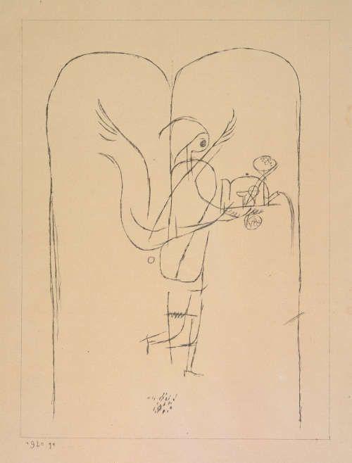 Paul Klee, Ein Genius serviert ein kleines Frühstück, nach einer Zeichnung von 1915 (29), 1920 (91), Lithografie, 20,3 x 14,5 cm (Zentrum Paul Klee, Bern)