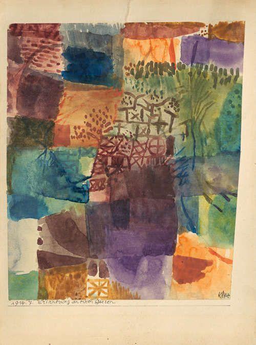 Paul Klee, Erinnerung an einen Garten, 1914, 7, Aquarell und Bleistift auf Papier auf Karton, 25,2-25,5 x 20,2-21,6 cm (Kunstsammlung Nordrhein-Westfalen)