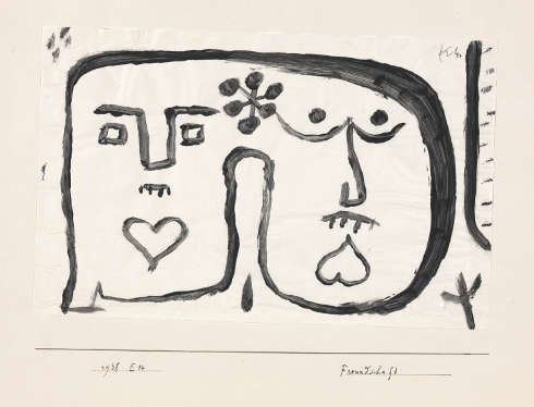 Paul Klee, Freundschaft, 1938, 54 Kleisterfarbe auf Papier/Karton, 17,9 x 28 cm (Zentrum Paul Klee, Bern)