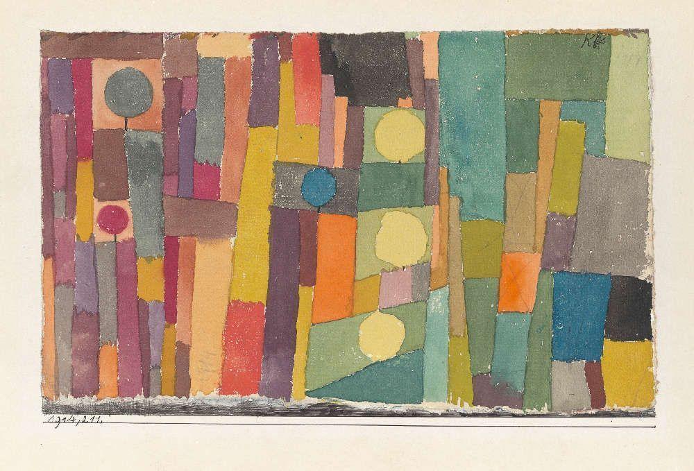 Paul Klee, Im Stil von Kairouan, ins Gemässigte übertragen, 1914, 211, Aquarell und Bleistift auf Papier auf Karton, 12,3 x 19,5 cm (Zentrum Paul Klee, Bern)