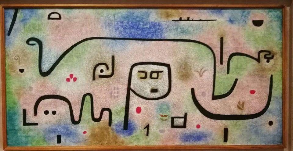 Paul Klee, Insula dulcamara, 1938, 481, Öl- und Kleisterfarbe auf Papier auf Jute, originale Rahmenleiste (Zentrum Paul Klee, Bern)