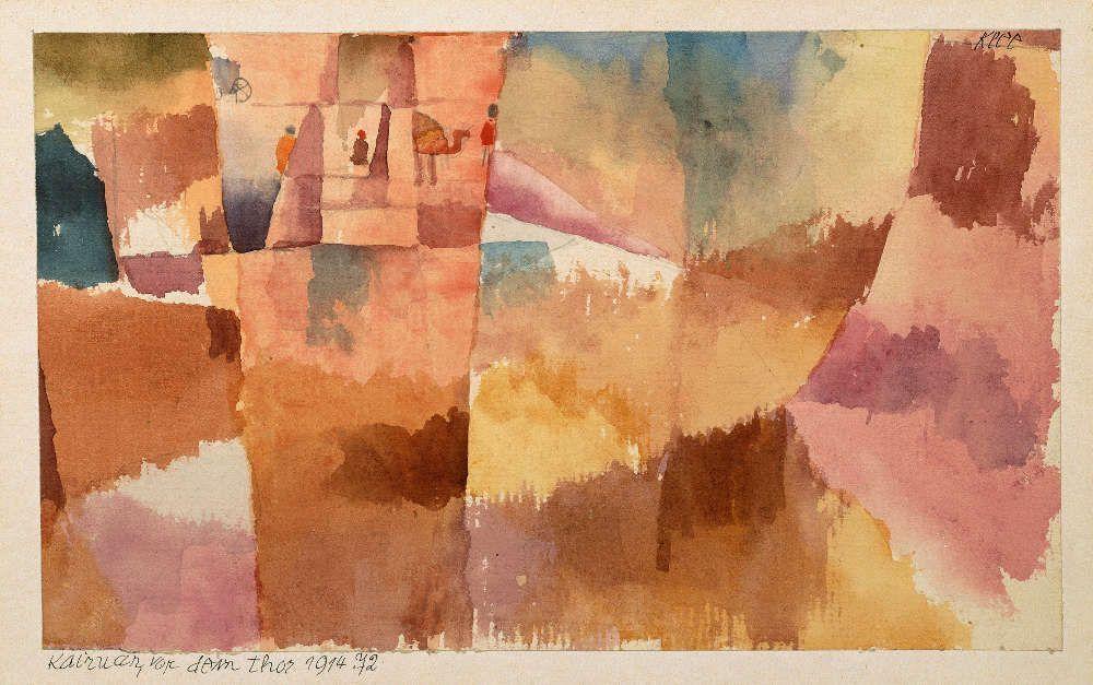 Paul Klee, Kairuan, vor dem Tor, 1914, 72, Aquarell und Bleistift auf Papier, 13,5 x 22 cm (Moderna Museet, Stockholm)