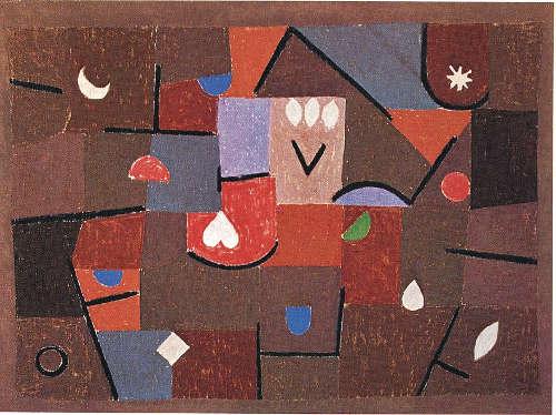 Paul Klee, Kleinode, 1937, 214 (U 14), Kleisterfarbe auf Baumwolle auf Jute, Umrandung mit Kleisterfarbe, auf Keilrahmen, 57,6 x 76,5 x 2,1 cm (Kunstsammlung Nordrhein-Westfalen)