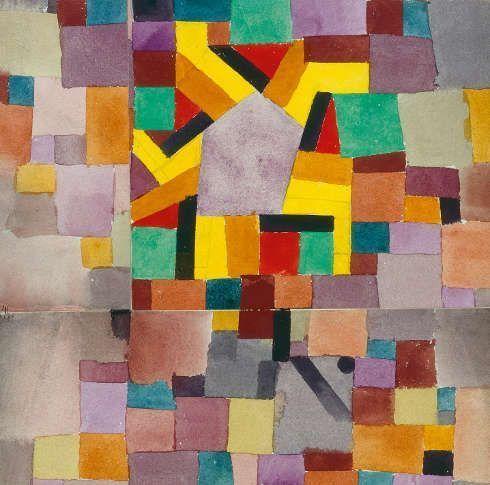 Paul Klee, Mit dem violetten Fünfeck, 1919,83, Aquarell und Bleistift, Wattmannpapier, 28 x 22,5 cm (Kunst- und Museumsverein im Von der Heydt-Museum)