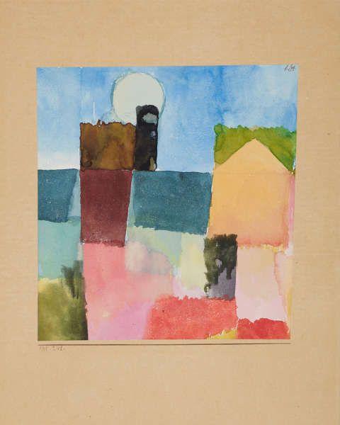 Paul Klee, Mondaufgang (St. Germain), 1915, Aquarell und Bleistift auf Papier auf Karton, 18,4 x 17,2 cm (Museum Folkwang, Essen, © Museum Folkwang Essen – ARTOTHEK)