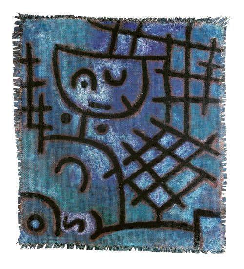 Paul Klee, Ohne Titel (Gefangen, Diesseits-Jenseits), um 1940, Öl, ausgesparte Zeichnung mit Kleisterfarbe auf kleistergrundierter Jute auf Jute, 55,2 x 50,1 cm (Fondation Beyeler, Riehen/Basel, Sammlung Beyeler, Foto: Peter Schibli)