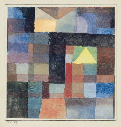 Paul Klee, Raumarchitektur mit der gelben Pyramide, kalt-warm, 1915 (Kunsthaus Zug, Sammlung Klamm)