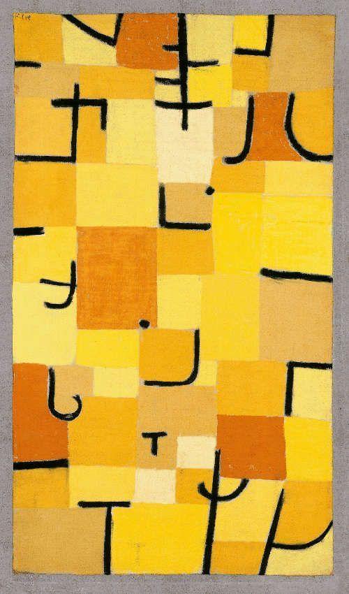 Paul Klee, Zeichen in Gelb, 1937, 210 (U 10), Pastell auf Baumwolle auf Kleisterfarbe auf Jute auf Keilrahmen, 83,5 x 50,3 cm (Fondation Beyeler, Riehen/Basel, Sammlung Beyeler, Foto: Robert Bayer, Basel)