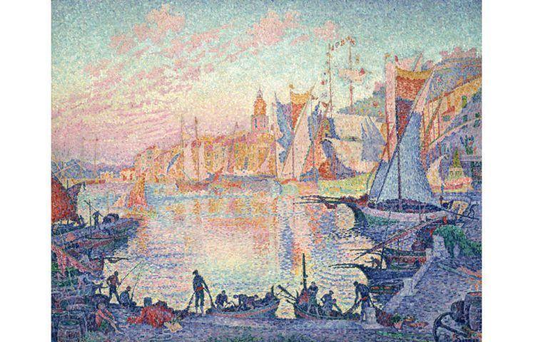 Paul Signac, Le port de Saint-Tropez [Der Hafen von Saint-Tropez], 1901/2, Öl auf Leinwand, 131 x 161,5 cm (The National Museum of Western Art, Tokio, ehemals Museum Folkwang, Hagen/Essen)