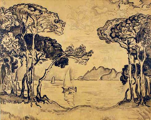 Paul Signac, Juan-les-Pins. Soir, 1914, Tusche, 72,3 x 90,1 cm (Privatsammlung)