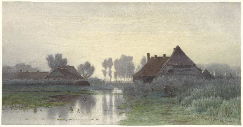 Paul Joseph Constantin Gabriël, Bauernhäuser am Wasser bei Abendnebel, 1838–1903, Aquarell, 39 × 75,9 cm (Rijksmuseum, Amsterdam)