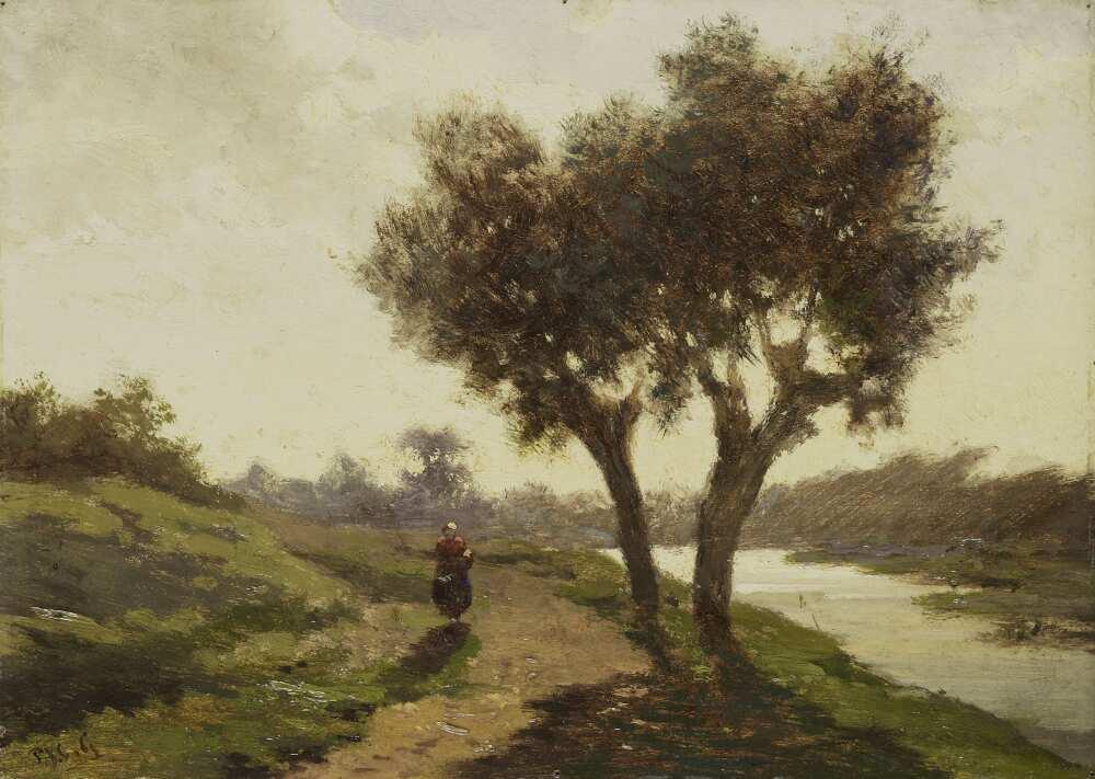 Paul Joseph Constantin Gabriël, Landschaft mit zwei Bäumen, 1867, Öl auf Holz, 13,2 × 18,5 cm (Rijksmuseum, Amsterdam)
