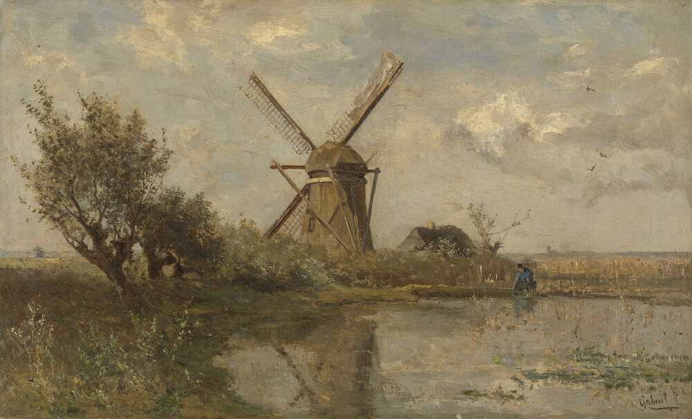 Paul Joseph Constantin Gabriël, Windmühle an einem Teich, um 1860–1903, Öl auf Leinwand, 28,5 × 46,5 cm (Rijksmuseum, Amsterdam)