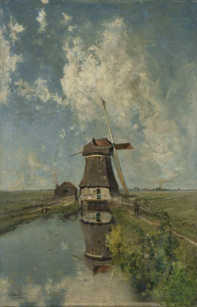 """Paul Joseph Constantin Gabriël, Eine Windmühle auf einem Polder Wasserweg, genannt """"Im Monat Juli"""", um 1889, Öl auf Leinwand, 102 × 66 cm (Rijksmuseum, Amsterdam)"""
