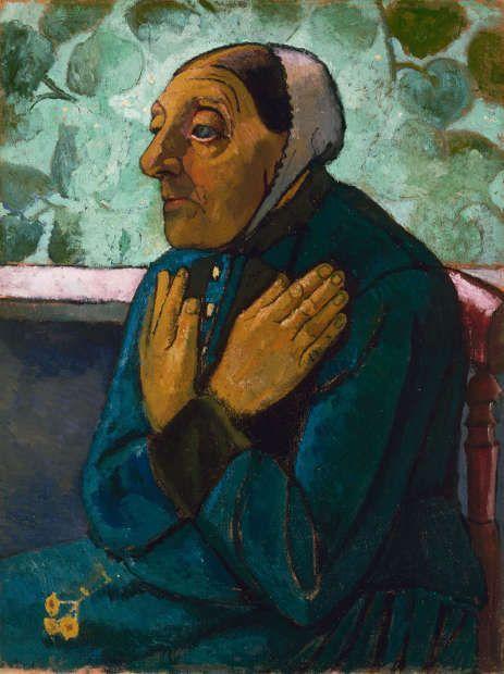 Paula Modersohn-Becker, Alte Bäuerin mit auf der Brust gekreuzten Händen, 1907, Öltempera auf Leinwand, 75,7 x 57,7 cm (The Detroit Institute of Arts © Detroit Institute of Arts, Gift of Robert H. Tannahill)