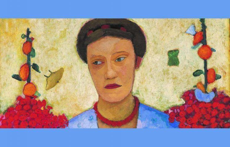 Paula Modersohn-Becker, Bildnis Lee Hötger vor Blumengrund, Detail, 1906, Öl/Ln, 92,4 x 73,6 cm (Bremen, Museen Böttcherstraße, Paula Modersohn-Becker Museum)