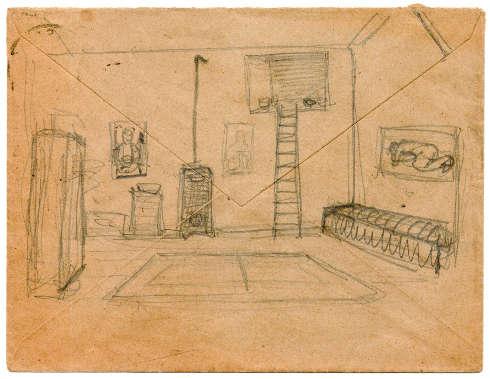 Paula Modersohn-Becker, Das letzte Pariser Atelier, Kohle auf Papier, 1906 (Paula-Modersohn-Becker-Stiftung, Bremen)