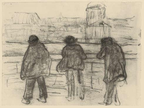 Paula Modersohn-Becker, Drei Männer am Seine-Quai (gegenüber dem Institut de France), um 1905, Kohle auf Papier (Privatbesitz, Foto: Paula-Modersohn-Becker-Stiftung)
