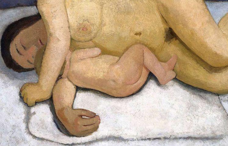 Paula Modersohn-Becker, Liegende Mutter mit Kind, Sommer 1906, Öl/Lw, 82,5 × 124,7 cm (Museen Böttcherstraße, Paula Modersohn-Becker-Museum, Bremen)