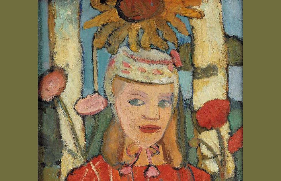 Paula Modersohn-Becker, Mädchen in rotem Kleid vor Sonnenblume, Detail, 1907 (Privatbesitz)