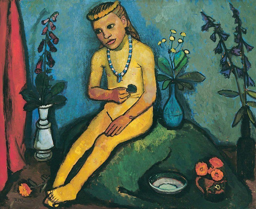 Paula Modersohn-Becker, Mädchenakt mit Blumenvase, um 1907 (Von der Heydt-Museum Wuppertal)